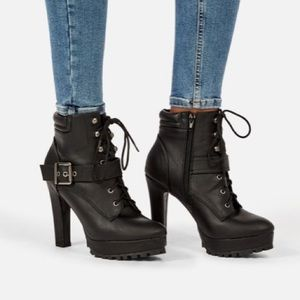 JUSTFAB Cady High heeled Faux Leather Moto Ankle Bootie